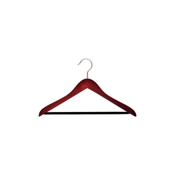 "Concave Cherry Finish Wooden Suit Hanger, Non-Slip Black Velvet Pant Bar, 17"" Length x 5/8"" Thick, Satin Chrome Hook Box of 12. Opens flyout."