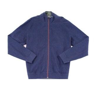 Tommy Bahama NEW Blue Green Men 2XL Reversible Twill Full Zip Sweater