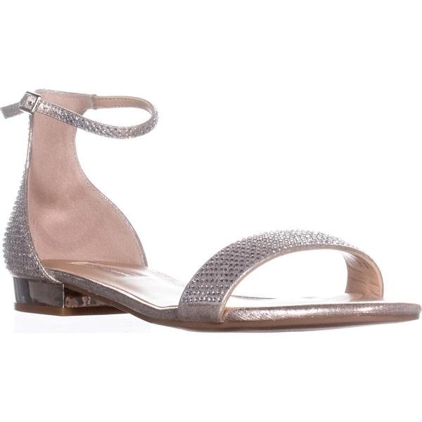 I35 Yaffa Flat Ankle Strap Sandals, Pearl Gold