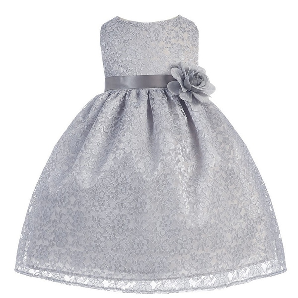 Baby Girls Silver Floral Lace T-Length Flower Girl Dress 6-24M