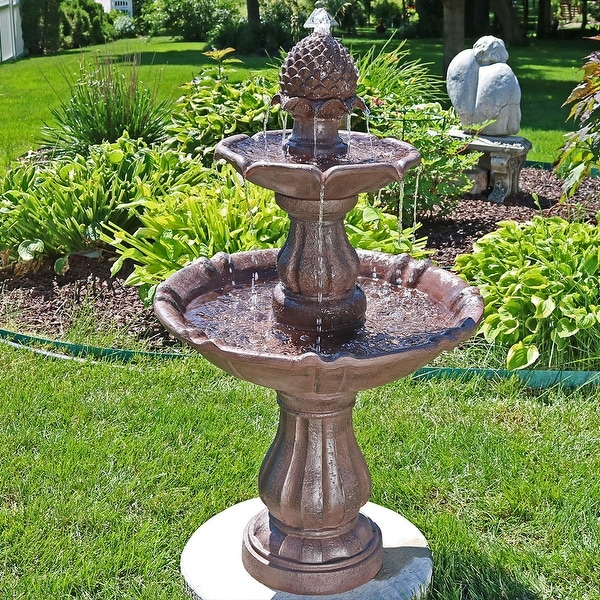 Sunnydaze 2 Tier Curved Plinth Outdoor Water Fountain 38 Inch Tall