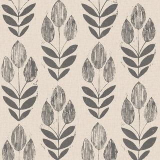 Brewster 2535-20651 Scandinavian Black Block Print Tulip Wallpaper