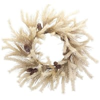 """Pack of 2 Beige and White Snowy Dried Pine Wreath 26"""" - Brown"""