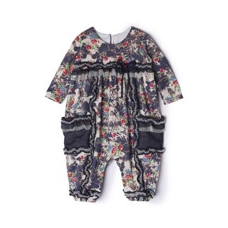 Isobella & Chloe Baby Girls Navy Flower Pattern Long Sleeve Romper