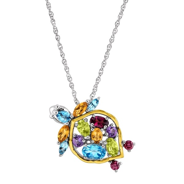 2 1/2 ct Natural Multi-Stone Turtle Pendant in Sterling Silver & 14K Gold - Blue