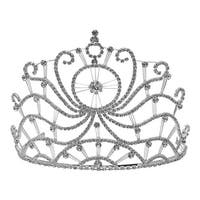 Futuron Girls Silver Glitter Circle Spiral Shape Rhinestone Tiara Headpiece