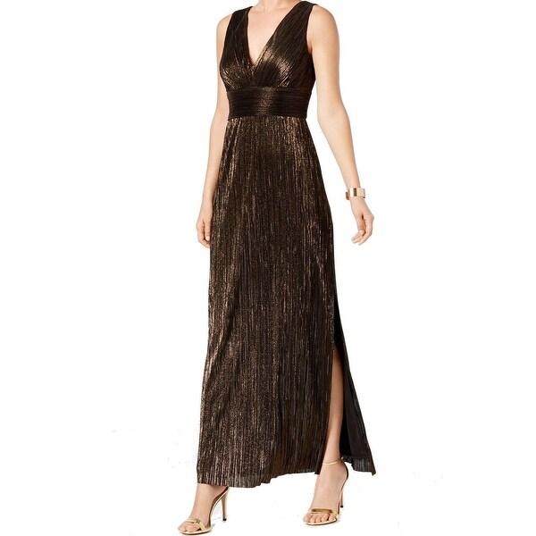 Jessica Howard Black Women's Size 14 Pleated Metallic Slit Gown