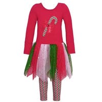Bonnie Jean Little Girls Red Candy Cane Bow Applique 2 Pc Legging Set
