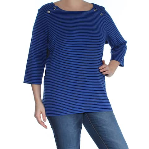 TOMMY HILFIGER Womens Blue Buttoned Shoulder Line Pinstripe Color Block 3/4 Sleeve Boat Neck Tunic Top Plus Size: 0X