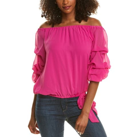 Coco Bianco Ruched Sleeve Top