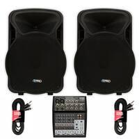 """Technical Pro PVOLT15 Active 15"""" 3000 Watt Speakers with Mixer DJ Speaker Set"""
