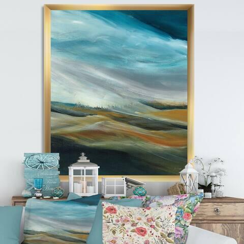 Designart 'Watercolor Desert Storm Abstract Blue' Cottage Premium Framed Art Print