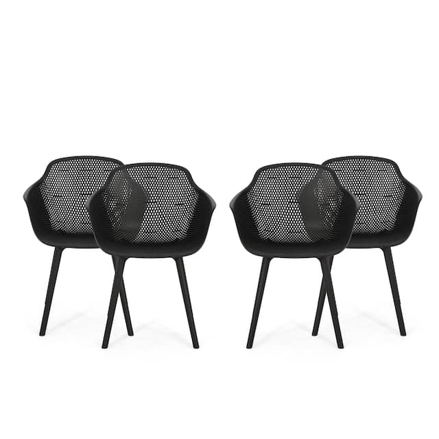 Lotus Outdoor Modern Dining Chair (Set of 4) by Christopher Knight Home - Black