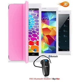 Indigi® Unlocked 3G 7.0inch HD DualSim SmartPhone & TabletPC w/ Built-in SmartCover (Pink)+ Bluetooth Included