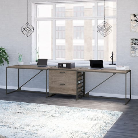 Refinery 2 Person Desk Set with Lateral File Cabinet by Bush Furniture