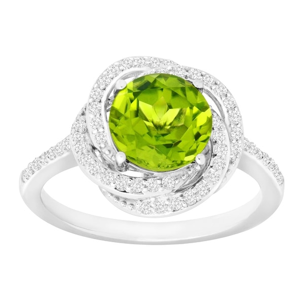 2 3/8 ct Natural Peridot & Created White Sapphire Ring in Sterling Silver