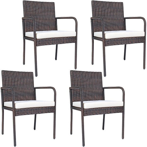 Costway 4 PCS Outdoor Patio Rattan Dining Chairs Cushioned Sofa with. Opens flyout.