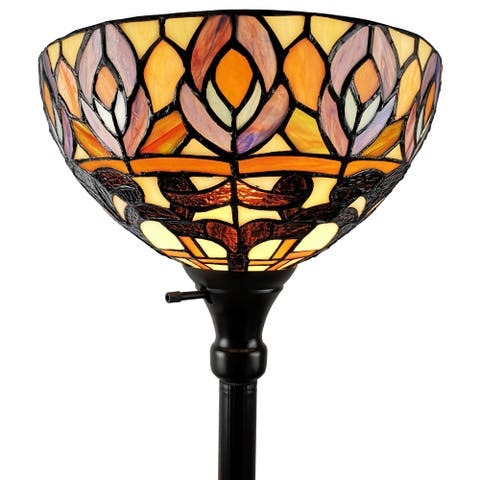 Tiffany Style Peacock 1-light Torchiere Lamp AM1086FL12 Amora Lighting