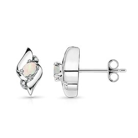 Shell Design Oval Opal and Diamond Stud Earrings in Silver (4mm Opal)