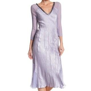 Komarov Womens Small V-Neck Sequined Sheath Dress