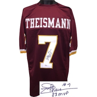 Joe Theismann signed TB Maroon Custom Stitched Pro Style Football Jersey 83 MVP- JSA Hologram
