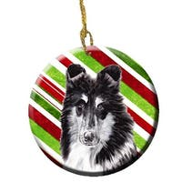 Black And White Collie Candy Cane Christmas Ceramic Ornament