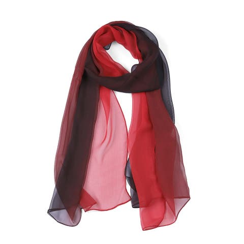 """Long Chiffon Lightweight Gradient Color Scarf For Women Red/Black - 63""""x19.6"""""""