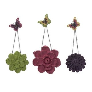 """Set of 3 Colorful Metal Garden Wall Flowers with Chain and Butterfly Accent 33.5"""""""