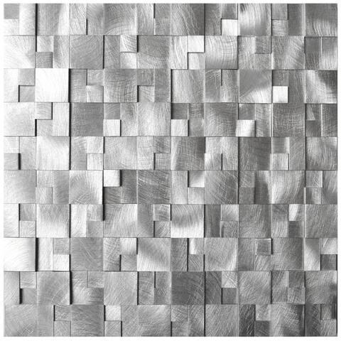 3D Cobblestone Silver Aluminum Metal Tile 11.8x11.8 (8 tiles/7.74 Sqft)