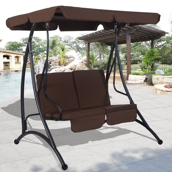 Costway Brown 2 Person Canopy Swing Chair Patio Hammock Seat Cushioned  Furniture Steel - Shop Costway Brown 2 Person Canopy Swing Chair Patio Hammock Seat