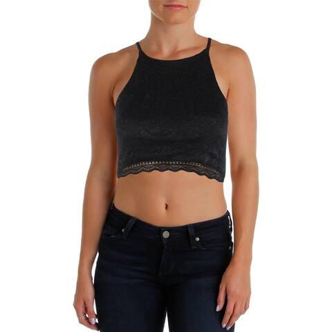 BCX Womens Juniors Crop Top Lace Glitter