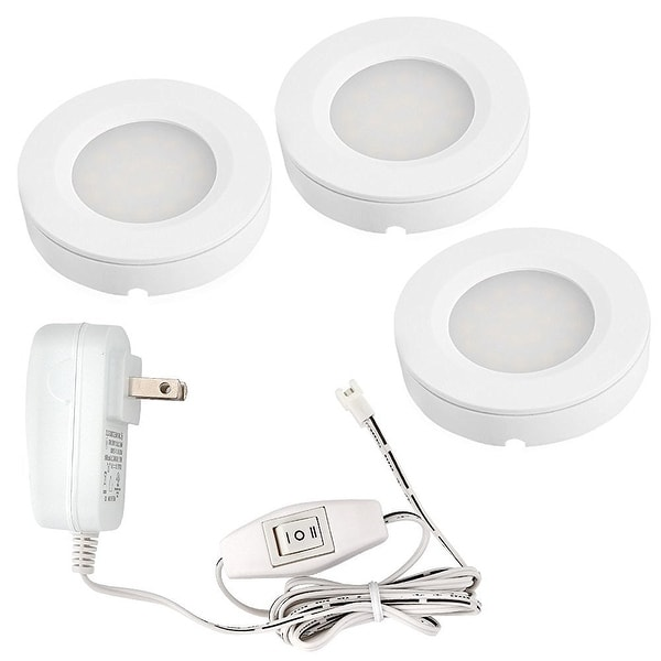 Shop Set Of 3 2w Led Under Cabinet Lighting Led Puck Lights With Ul Listed Adapter Overstock 14174763
