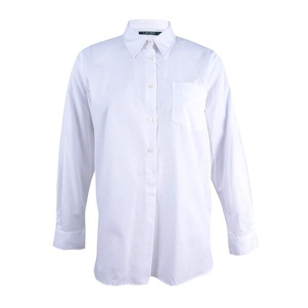 e2b7e5be Lauren by Ralph Lauren Women's Poplin Shirt (XL, White) - White - XL