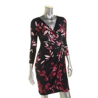 Lauren Ralph Lauren Womens Petites Nadiana Floral Print 3/4 Sleeves Wrap Dress