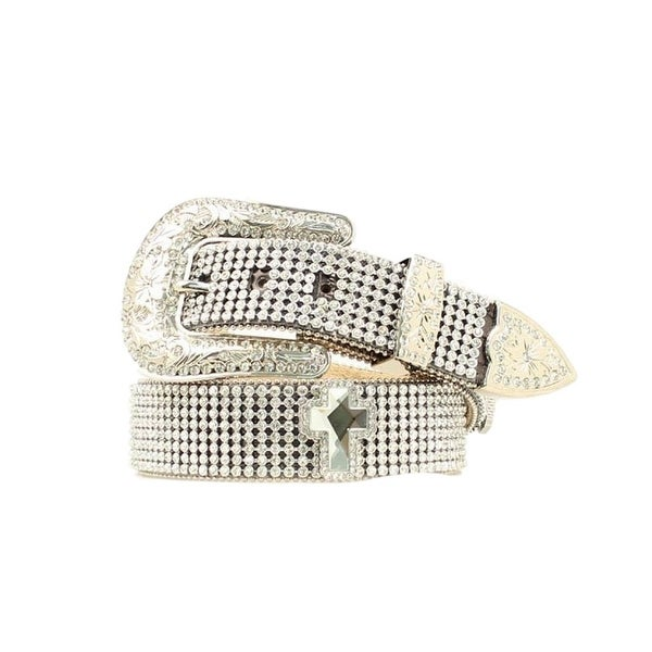 Nocona Western Belt Womens Mesh Crystals Bling Silver Black