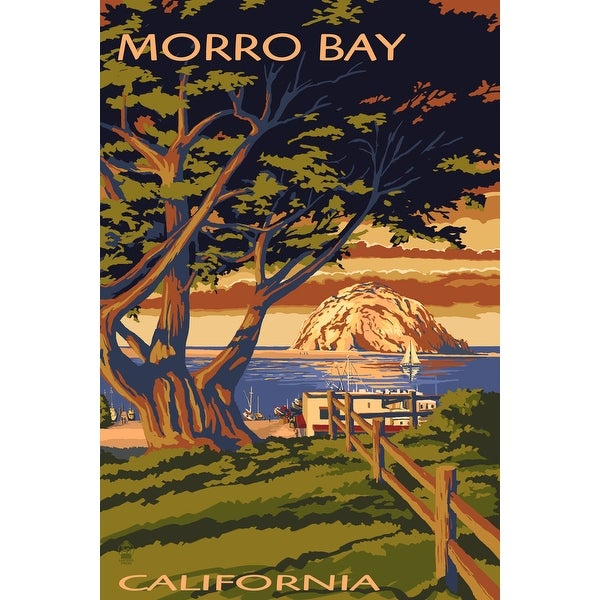 Morro Bay, CA - Town with Morro Rock - LP Artwork (100% Cotton Towel Absorbent)