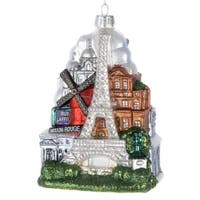 """Pack of 6 Paris France Glass Christmas Ornaments 5"""" - multi"""