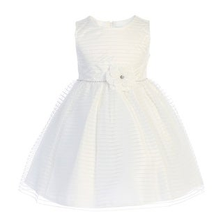Little Girls Ivory Floral Accent Striped Tulle Flower Girl Dress (5 options available)
