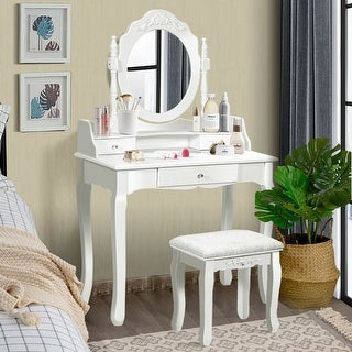 Costway White Vanity Wood Makeup Dressing Table Stool 3 Drawer