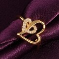 Gold Hollow Double Hearts Ring - Thumbnail 2