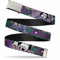Blank Chrome Buckle Joker Face Logo Spades Black White Purple Webbing Web Belt