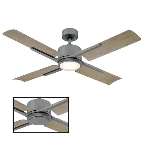 Cervantes 56 Inch Four Blade Indoor / Outdoor Smart Ceiling Fan with Six Speed DC Motor and LED Light.