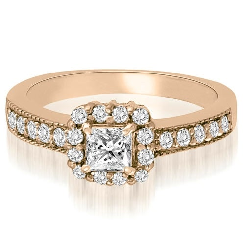 0.99 cttw. 14K Rose Gold Halo Princess And Round Diamond Engagement Ring