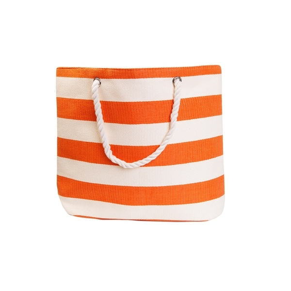 """20"""" Orange and White Striped Pattern Straw Beach Tote Bag with Pocket - N/A"""