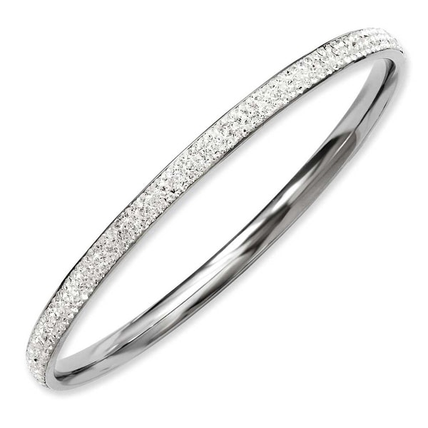 Stainless Steel Clear Crystal Bangle