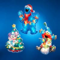 """Club Pack of 12 Lighted Sesame Street Themed Glittering Christmas Wall Decorations 12"""" - BLue"""