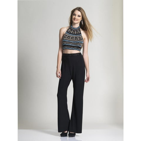 Two Piece Beaded Jersey Jumpsuit