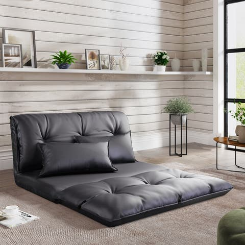 PU Leather Floor Chair Adjustable Sofa Bed with Pillows