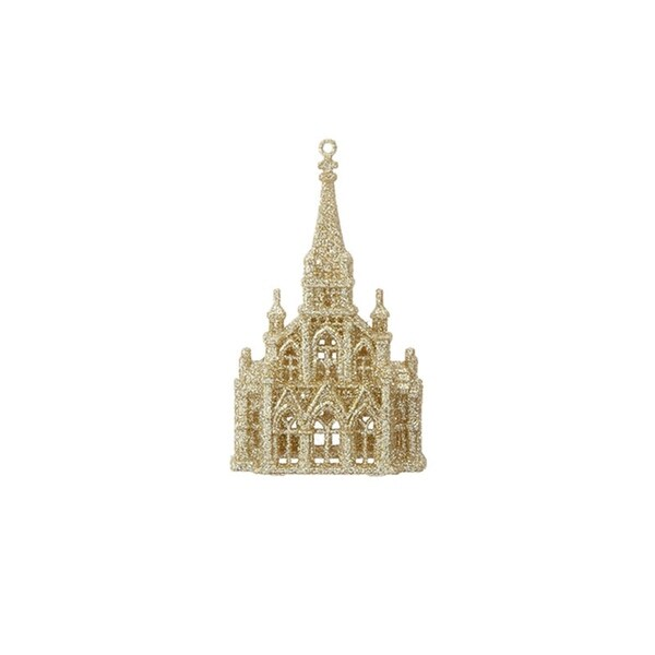 "6"" Gold Glittered Religious Cathedral Church Christmas Ornament"