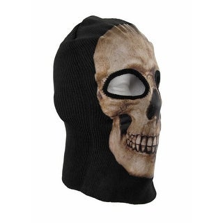 Black / Tan Human Skull Ski Mask Hat Cap Skeleton